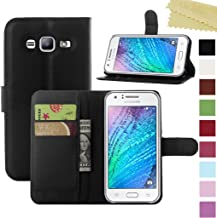Samsung Galaxy J1 Ace Case, AMASELL PU Leather Wallet Flip Open Pocket ID Credit Card Holders/Cash Slots Case Cover for J1 Ace, J110M, 4.3 inch 2015, Black