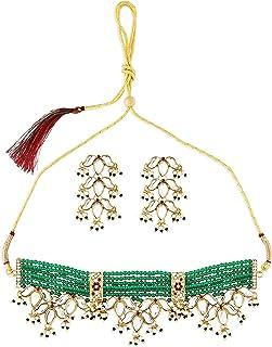 Zaveri Pearls Green Beaded Ethnic Kundan Choker Necklace & Earring Set For Women-ZPFK10830