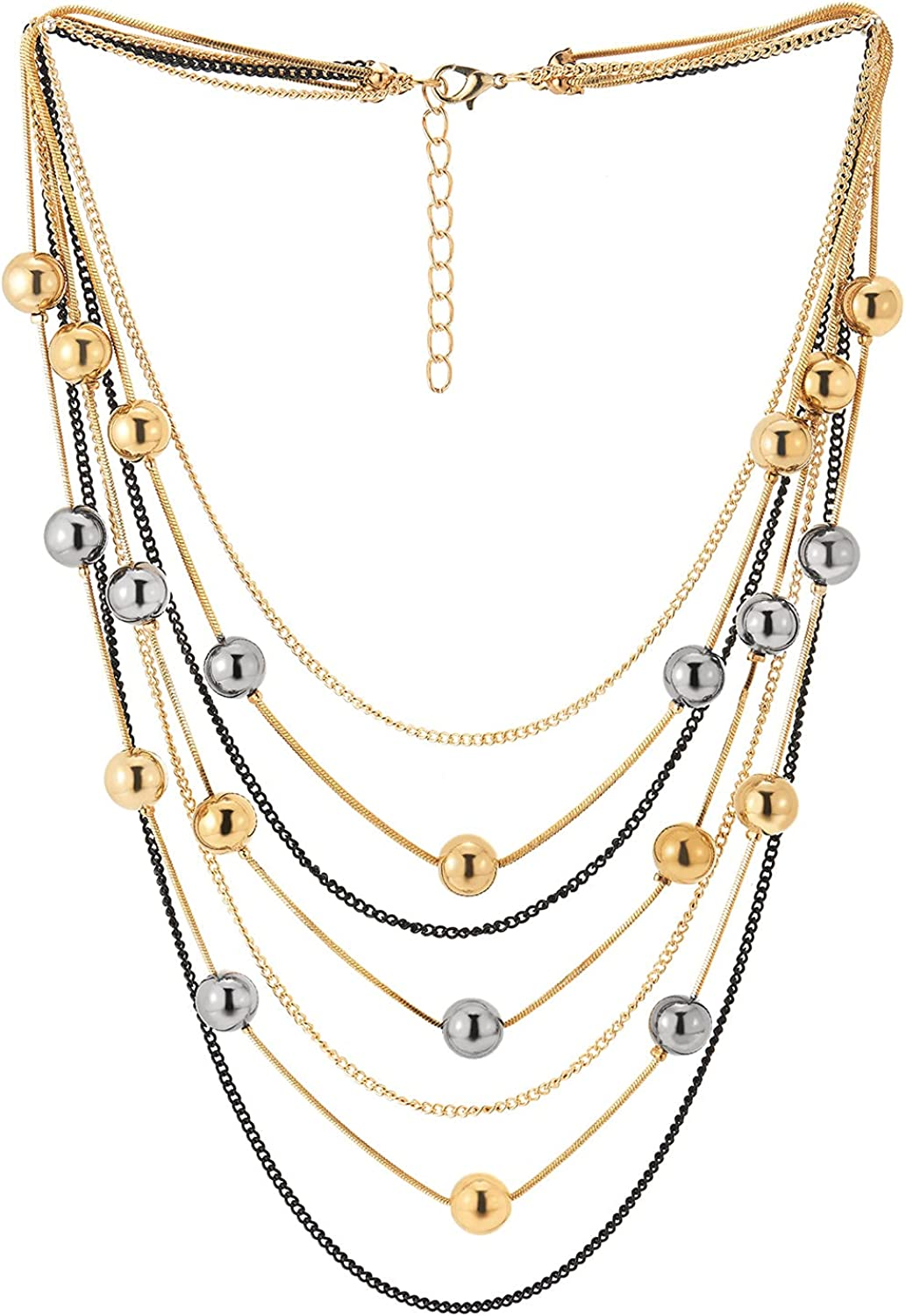 Black Gold Multi-strand Chains Waterfall Collar Statement Necklace with Champagne Grey Beads Balls