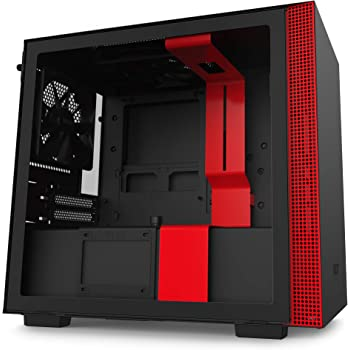NZXT H210 - CA-H210B-BR - Mini-ITX PC Gaming Case - Front I/O USB Type-C Port - Tempered Glass Side Panel - Cable Management System - Water-Cooling Ready - Radiator Bracket - Black/Red
