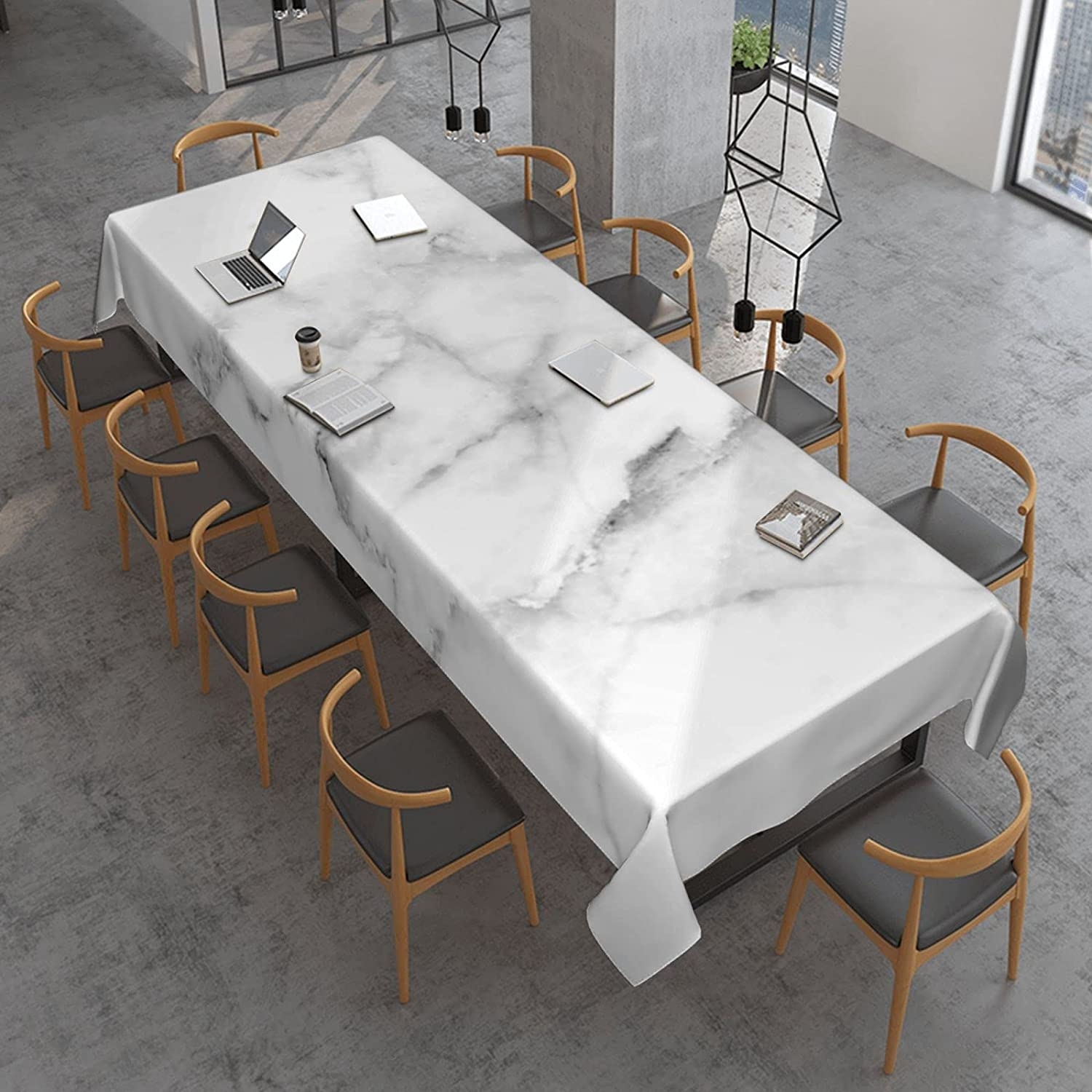 Natural White Marble Texture Sale special price Rectangle Quantity limited Cloth Proof Table Sp Oil