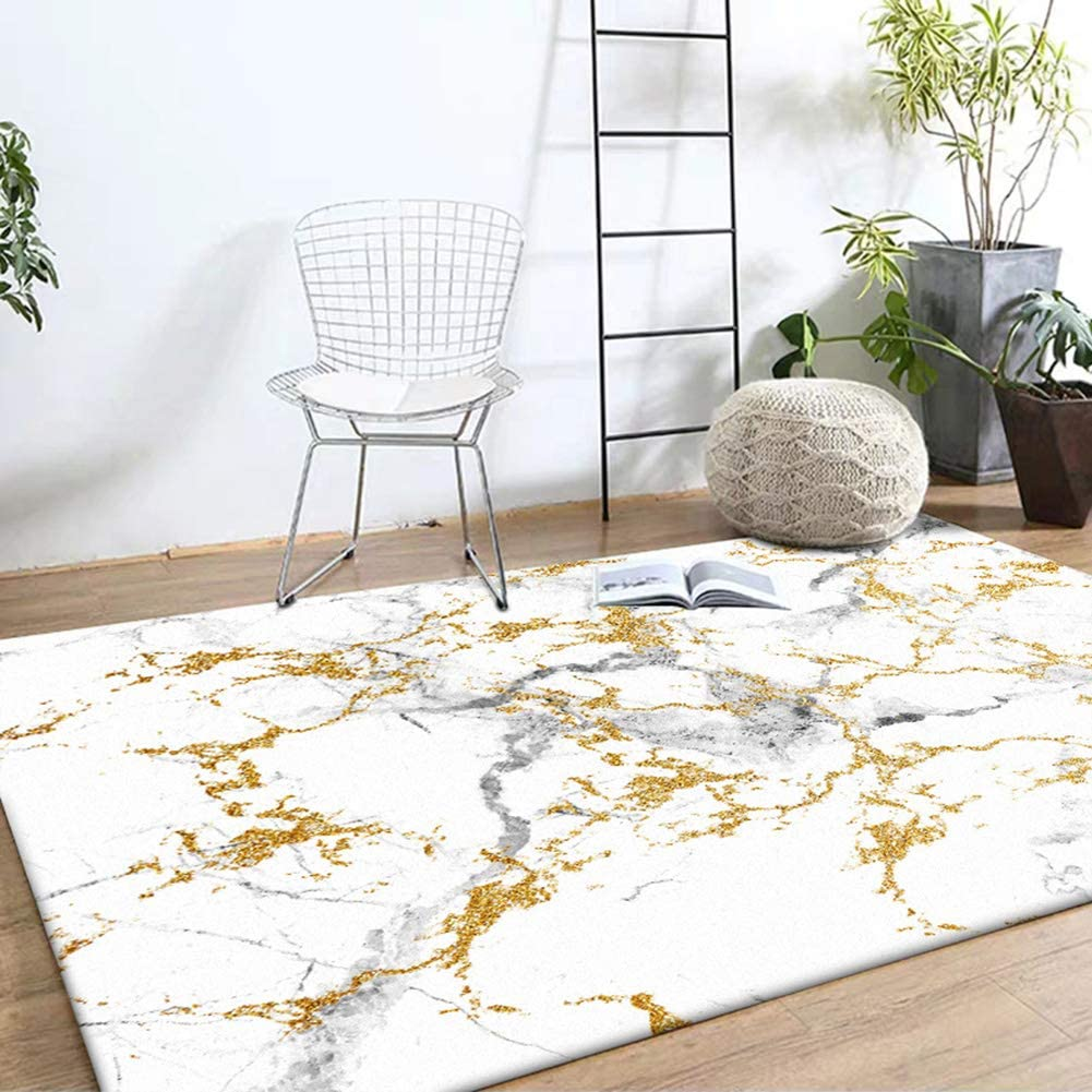 Rug Carpet お値打ち価格で Off-White Marbled Gold Bedroom 格安店 for Livi Bedside