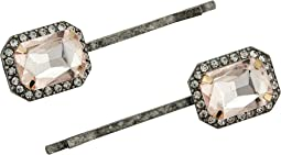 Square Rhinestone Halo Design Hair Pin Set
