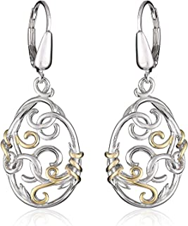 18k Yellow Gold and Rhodium Plated 925 Sterling Silver Two Tone Filigree Oval Drop Earrings