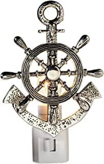 Midwest-CBK Captains Ships Wheel and Anchor Electric 7 Watt Night Light Replaceable Bulb