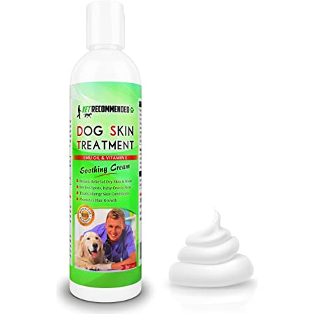 Vet Recommended Dog Dry Skin Cream & Moisturizer - Helps Dog Hair Loss Regrowth - Dry Nose & Cracked Paws - Works with Hot Spots for Dogs - 240ml (8 Oz)