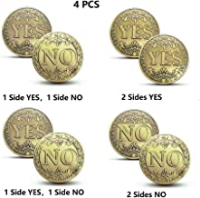 IVLWE Never Lose Yes No Coins Flipping Challenge Coin Souvenir Commemorative Coins Collection Double Yes Double No Normal YES or NO(4 PCS)