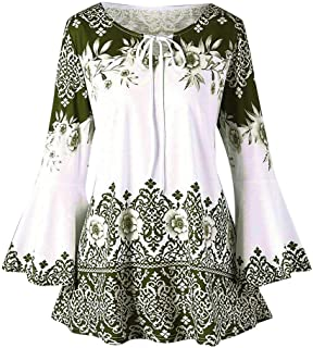 df6e050c84031 Womens Flare Long Sleeve V Neck Shirts Floral Casual Loose Flowy Tunic Tops  Lightwight Henley T