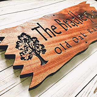 Custom Cabin sign Personalized Outdoor Wooden Carved Last Name Camping Sign Oak Trees