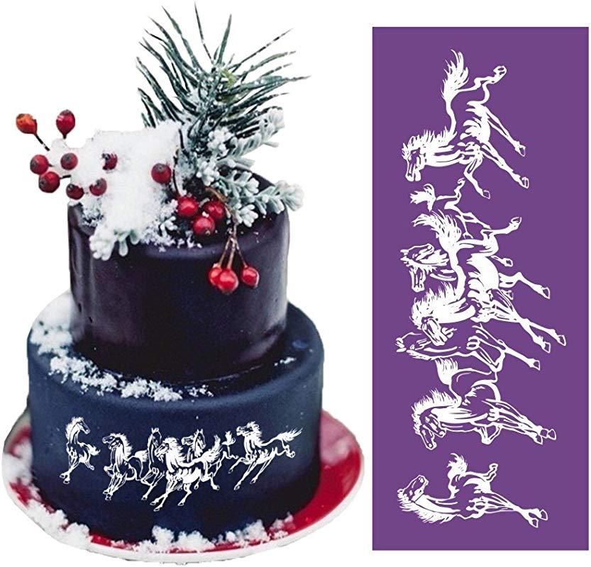 ART Kitchenware 18 1 7 5 Large Running Horse Lace Mesh Stencil Lace Cake Stencil Birthday Cake Side Stencils Template Mold Cake Decorating Bakery Tool MST 19 Purple Color