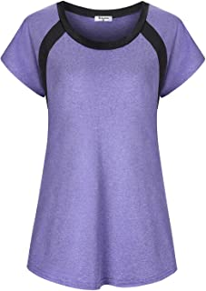 Bobolink Women's Short Sleeve Yoga Tops Dri Fit Workout Running Shirts