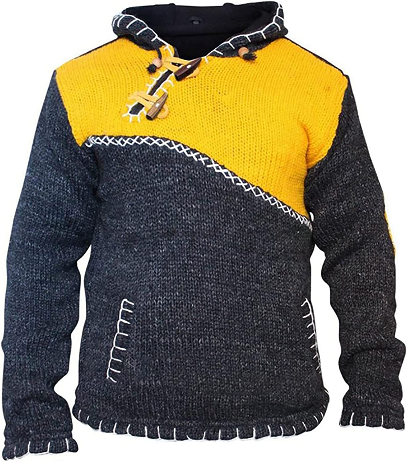 Men's Hooded Knitwear Sweater Fashion Retro Splicing Loose Plus Size Mixed Color Hoodies Pullover Sweatshirt