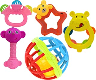 SaleON Big Size 5pc Baby Toy Colorful Non-Toxic Rattle Bell Cartoon Toy Plastic Toy Educational Toy for Baby Toddlers Newb...