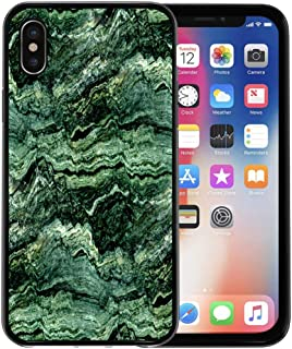 Semtomn Phone Case for Apple iPhone Xs case,Gray Agate Green Marble Abstract Dark Onyx Obsidian Closeup Curve for iPhone X Case,Rubber Border Protective Case,Black