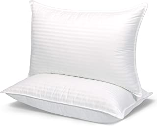 COZSINOOR Hotel Quality Pillows for Sleeping [Set of Two] Premium Plush Fiber, 100% Breathable Cotton Cover Skin-Friendly, Standard Size, White