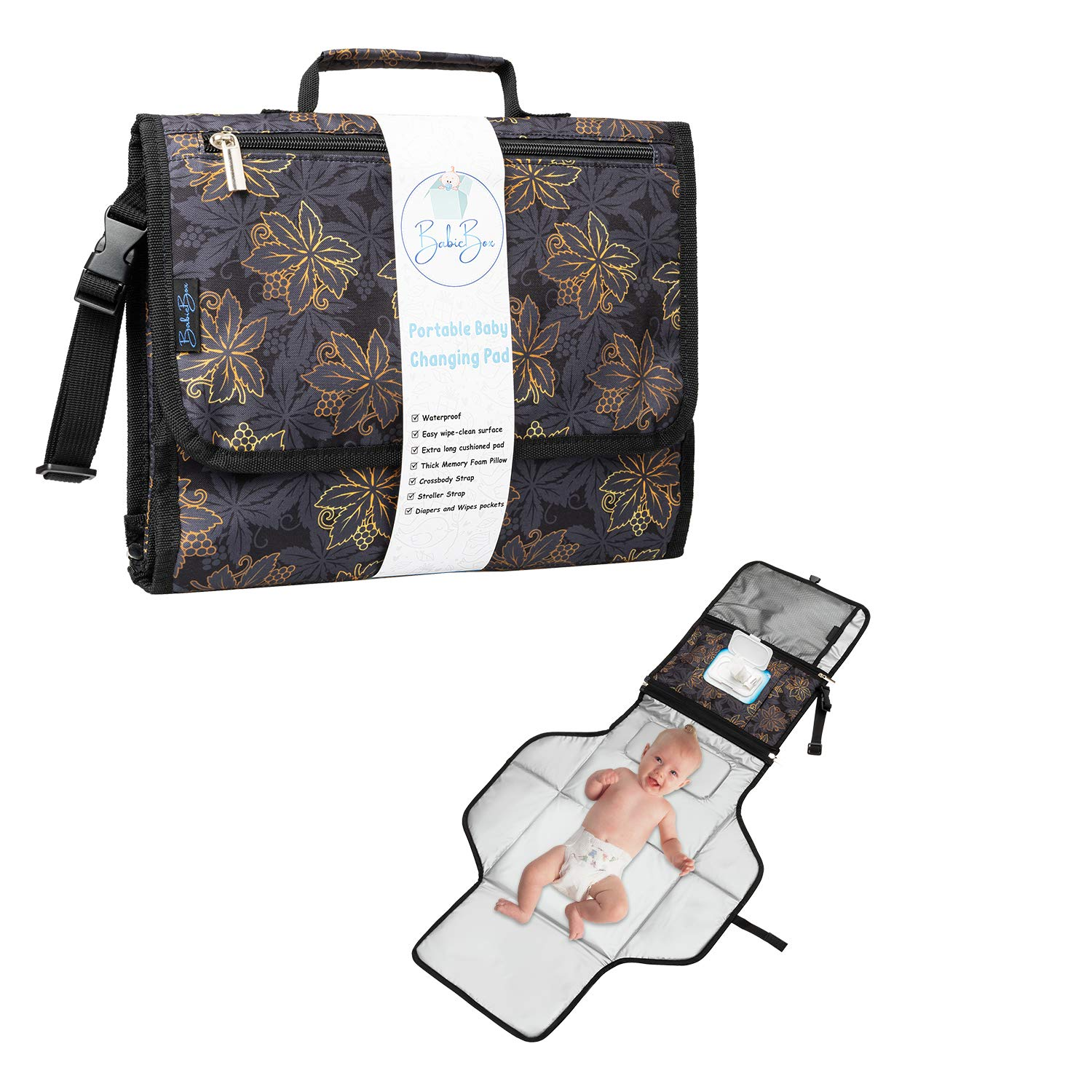 Portable Diaper Changing Pad for Baby – Premium Quality Waterproof Travel Station with Wipeable Mat and Built - in Memory Foam Pillow - Detachable Organizer Clutch with Extra Long Cushioned Pad