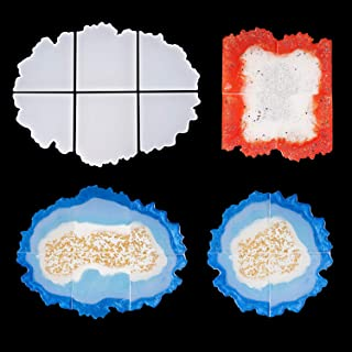LET'S RESIN Puzzle Agate Coaster Resin Molds, Geode Agate Slice Molds Six Cut, Silicone Molds for Making Cup Mats, Geode Coasters, Home Decoration, Candle Holders