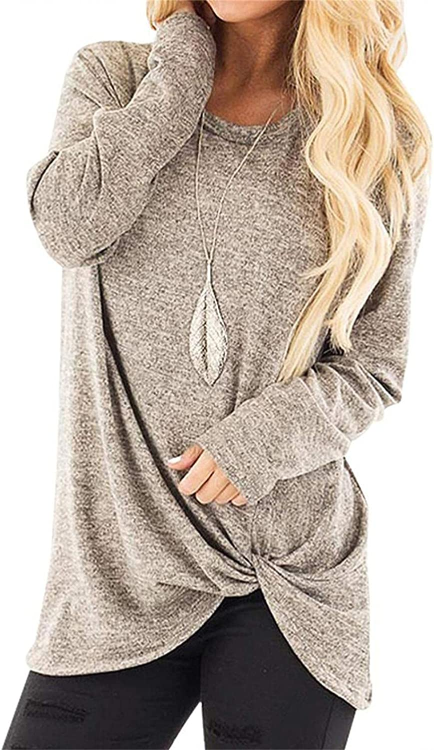 felwors Sweatshirt for Women,Womens Solid Color Tops Long Sleeve Crewneck Sweatshirts Casual Blouses Tunic Pullover
