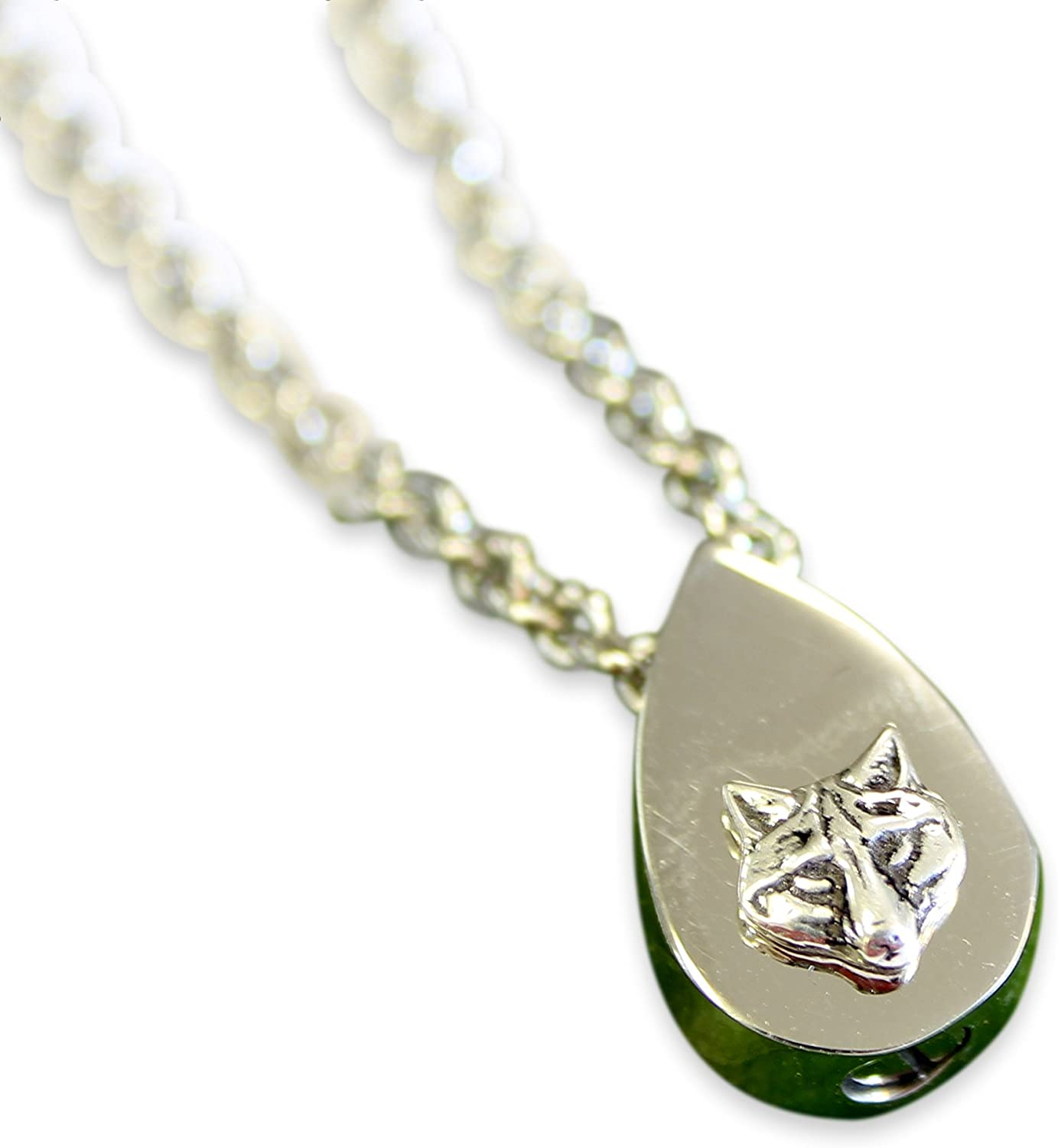 Silver Stainless Steel Tiny Wolf Face Tear Drop Cremation Urn Ashes Memorial Capsule Pendant Necklace