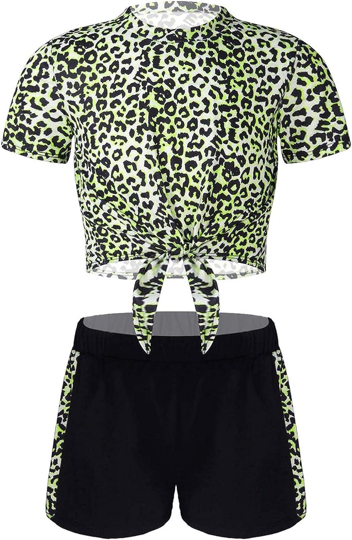 Nimiya Kids Girls Letters Print Summer Sportwear Short Sleeve T-Shirt Shorts Set for Sport Gym Workout Tracksuit