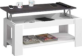 Habitdesign 0X1639A - Mesa Centro con revistero Mesa elevable mesita Mueble Salon Comedor Acabado en Blanco Artik y Oxid...