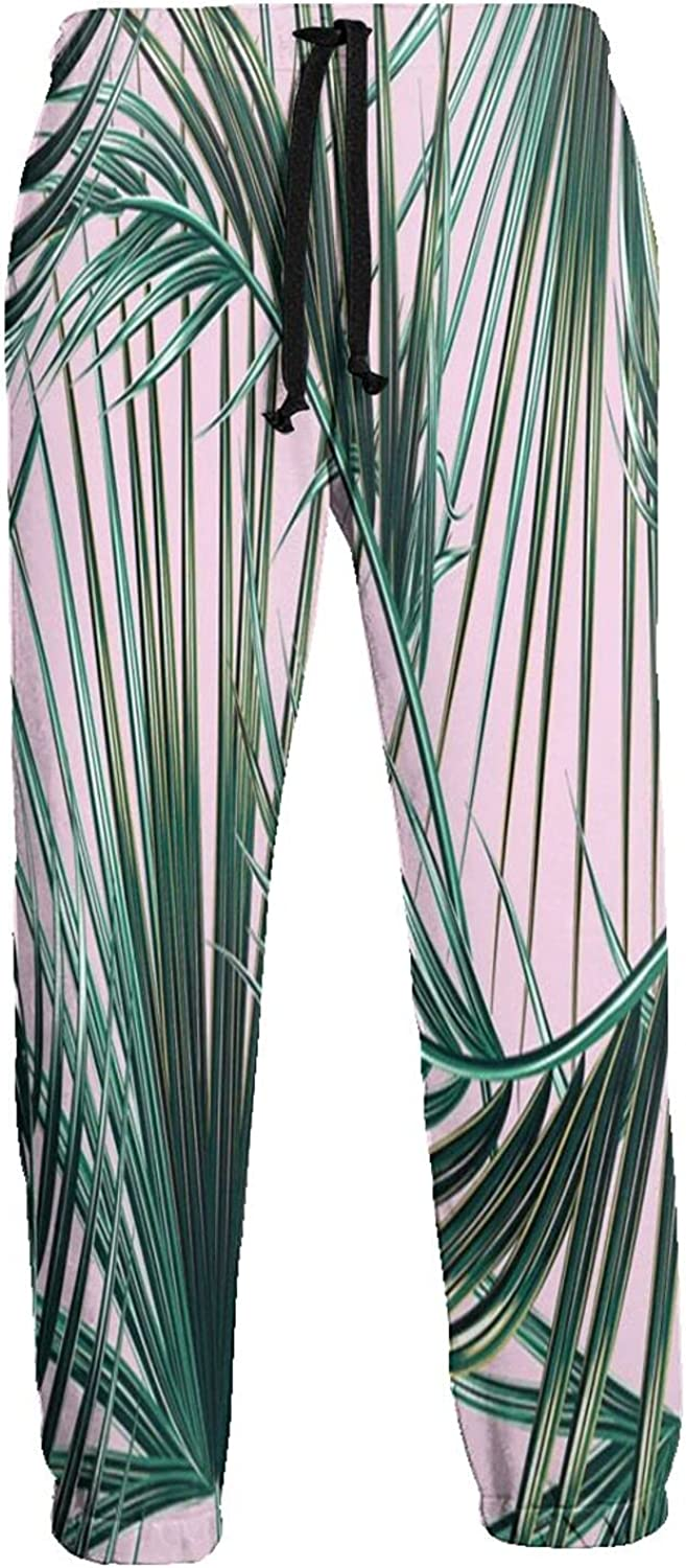 Kimisoy Sweatpants for Men Tropic Super beauty product restock quality Overseas parallel import regular item top Palm Comfy Pa Pink Jogger Leaf