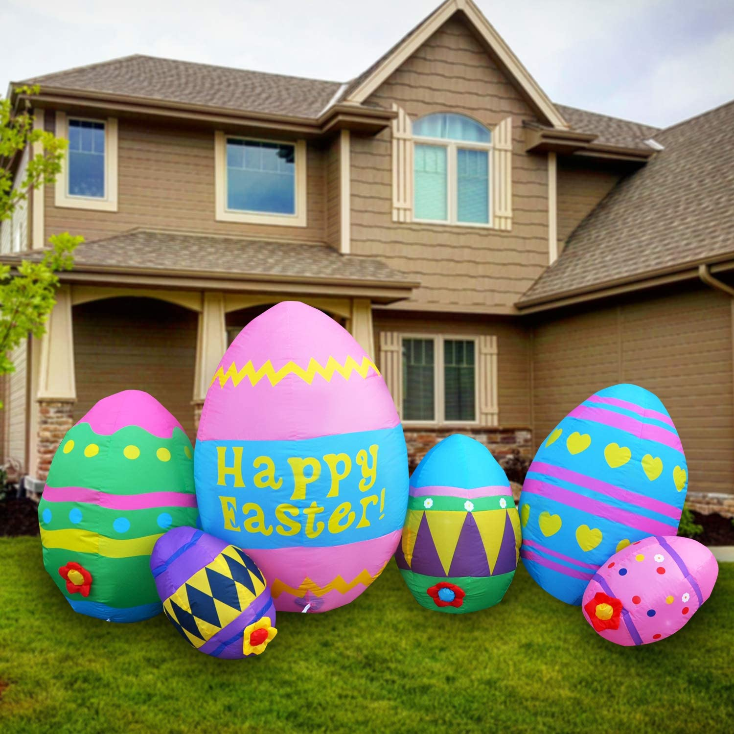 SEASONBLOW 8 Foot LED Light Long Beach Mall Easter Up Decoration Excellence Eggs Inflatable