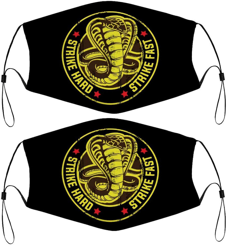 Cobra Strike Hard Fast No Mercy Karate Kids Face Mask Set of 2 with 4 Filters Washable Reusable Adjustable Black Cloth Bandanas Scarf Neck Gaiters for Adult Men Women Fashion Designs