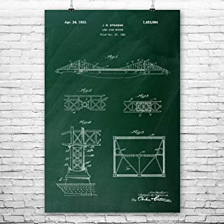 Patent Earth Golden Gate Bridge Poster Print, Architect Gift, Bridge Blueprint, Structural Engineer, Civil Engineering, City Planner Chalkboard (Green) (5