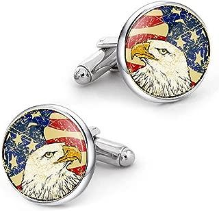 Kooer Bald Eagle Cuff Links American Flag Cufflinks Jewelry Gift for Men