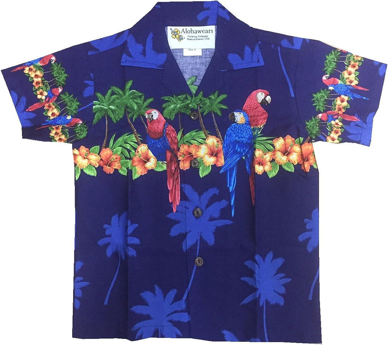 Made in Hawaii! Boy's Hibiscus Parrot Cruise Luau Hawaiian Aloha Shirt