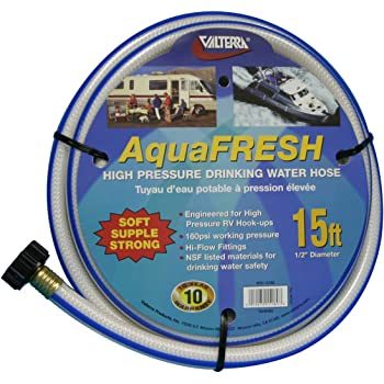 "Valterra AquaFresh High Pressure Drinking Water Hose, Water Hose Hookup for RV - 1/2"" x 15', White"