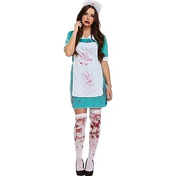 Girls Zombie Scrub Nurse Costume Kids Halloween Horror Fancy Dress Outfit Child
