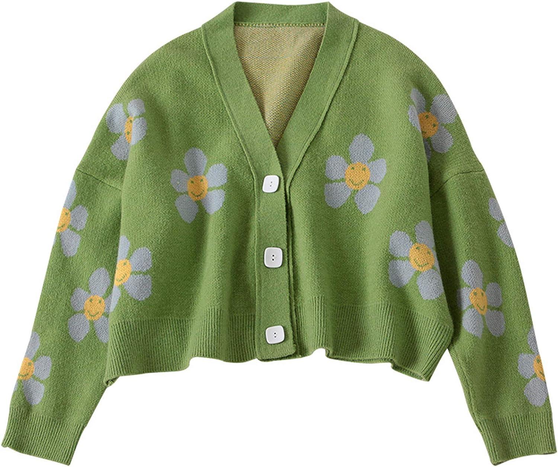 Women Cropped Cardigan Floral Sweater Long Sleeve Button Down Loose Knit Top Open Front Coat Y2k Knitwear