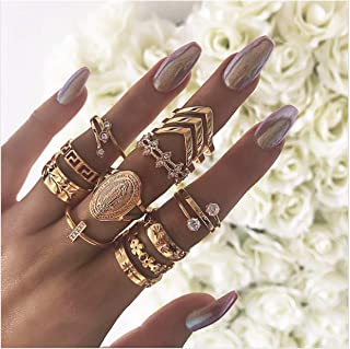 10-15PCS Vintage Midi Ring Bohemian Opal and Turquoise Joint Knuckle Rings for Women