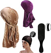 Wave Brush with 2PCS Tie Down Velvet Durag Cap Plus Wave Cap for Men Women