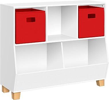 RiverRidge Kids Catch-All Multi-Cubby 35-Inch 2 Toy Organizer, White/Red Bins