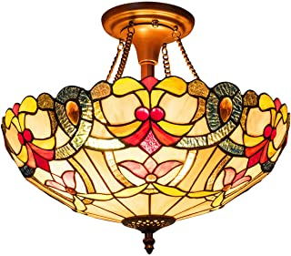 Tangkula Tiffany Ceiling Lamp, Stained Glass Lamp Shade Light with Iron, Antique Style Tiffany Chandelier, 2 Light Bulbs Pendent Ceiling Fixture, Perfect for Home Décor (Mixed Color, 16 inches)