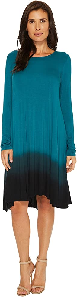 Mod-o-doc - Rayon Spandex Jersey Dip-Dye Long Sleeve Swing Dress