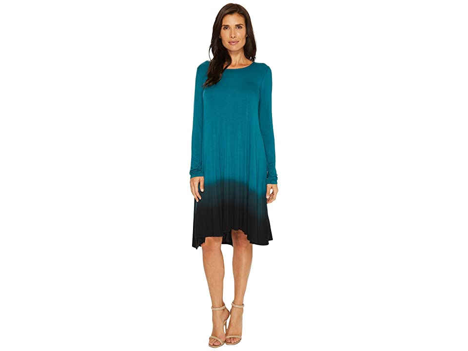 Mod-o-doc Rayon Spandex Jersey Dip-Dye Long Sleeve Swing Dress (Dark Jade) Women