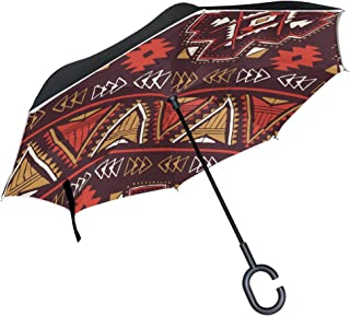 AHOMY Inverted Reverse Umbrella Indian Tribe Aboriginal Windproof for Car Rain Outdoor