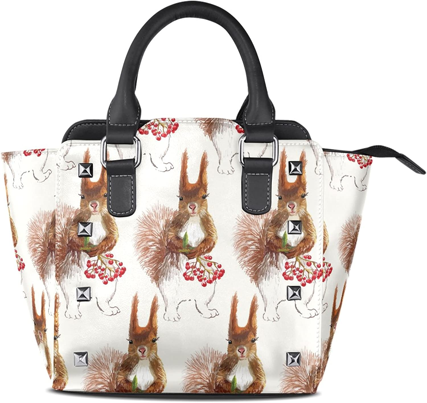 Sunlome Squirrels Cherry Painting Print Handbags Women's PU Leather Top-Handle Shoulder Bags