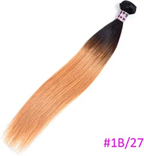 Brazilian Straight Hair Weave Bundles Non Remy Human Hair 1B/#2/#4/#27/#99J/Burgundy Ombre Hair Bundles 8-30 Inch,18inches,T1B/27