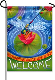 Jolly Flags Welcome Colorful Dragonfly Lotus Flower 12.5
