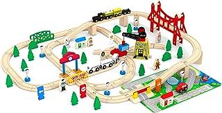 May & Z Wooden Train Set - Town Railroad Set of Wood Construction Railway Train Tracks - 100PCS