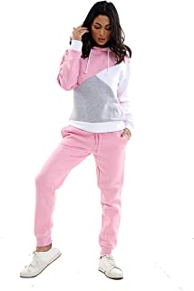 a72508c9 Womens Tracksuit Set Stylish Contrast Hoodie Top Ladies Bottoms Jogging Gym  S - XL