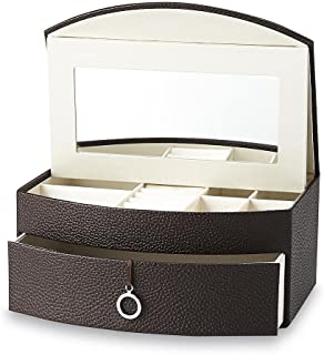 Jaclyn Smith Pebbled Grain Faux Leather Jewelry Box - Six Compartments - Silky Satin Interior - Vanity Mirror Under Lid