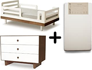 Oeuf Classic Toddler Bed, Walnut + Oeuf Merlin Sparrow Dresser - Walnut/White + Oeuf Pure and Simple Natural Dual Firm Crib Mattress, Natural