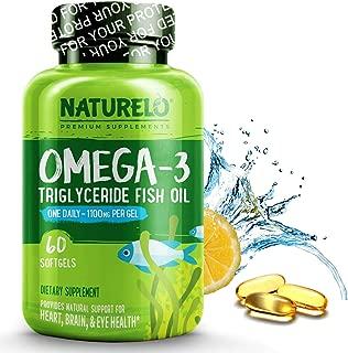 NATURELO Premium Omega-3 Fish Oil - 1100 mg Triglyceride Omega 3 - High Strength DHA EPA Supplement - Best for Brain, Heart, Joint Health - No Burps - Lemon Flavor - 60 Softgels | 2 Month Supply
