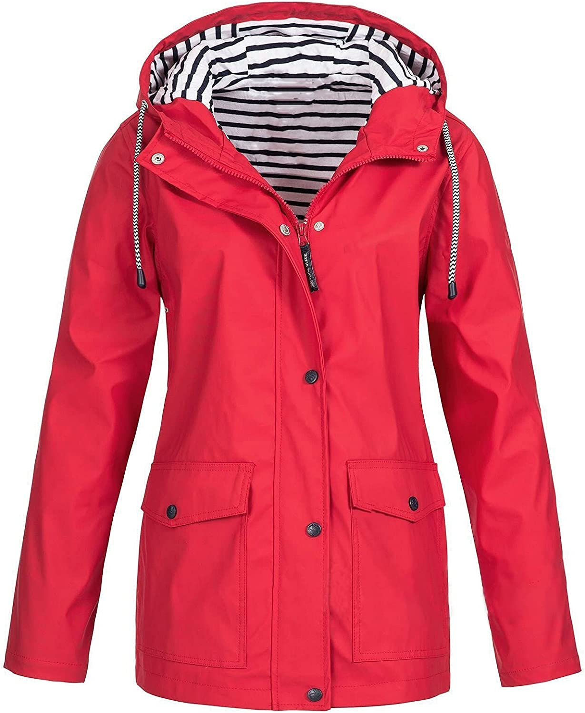 TLOOWY Womens Waterproof Windbreaker Lightweight Rain Jacket Hooded Raincoat with Pocket for Outdoor Hiking Camping